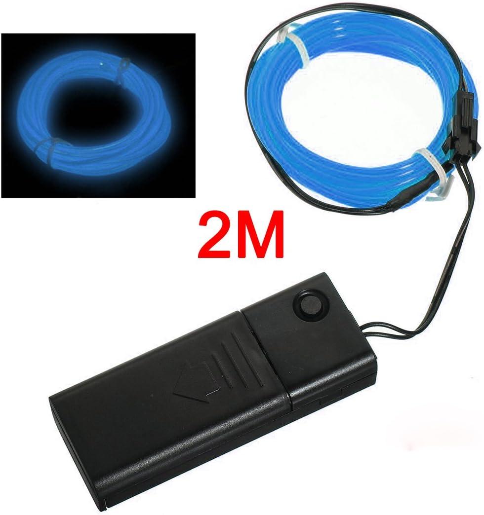 SODIAL(R) Azul - Cable EL Flexible Luz Neon 2M Decoracion de Baile Fiesta + Controlador