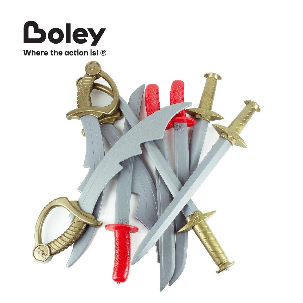 Boley Kids Plastic Play Sword Set - 9 Pack Knight Swords, Pirate Swords,  Ninja/Samurai Katanas - Complete Red Gold Grips - Great As Props, Gifts,