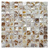 "kitchen back splashes Art3d Shell Mosaic Tile White Square Mosaic Tile for Kitchen/Bathroom Backsplash, 12"" X 12"""