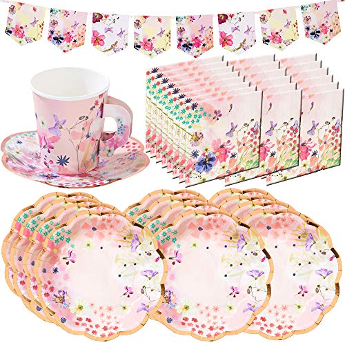 Talking Tables Blossom Girls Floral Party Supplies and Decorations | Designer Floral Paper Party Plates, Napkins, Tea Cups and Saucer Sets and Bunting Garland | -