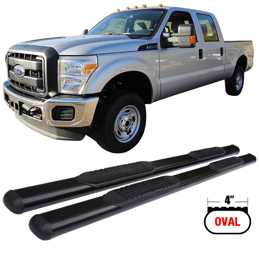 Side Step Bars Fits 1999-2016 Ford F250 F350 F450 | Black Powder Coat Finish T304 Stainless Steel Running Boards Nerf Bars By IKON MOTORSPORTS | 2000 2001 2002 2003 2004 2005 2006 2007 2008 2009 2010 by IKON MOTORSPORTS (Image #1)