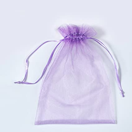 11963cc6d799 100 Pcs Transparent Organza Bags Drawstring Jewelry Bags, BZCTAH 25 x 35cm  Multicolor with Drawstring Gift Pouch Candy Bags,Purple#1