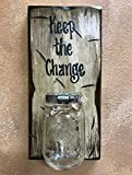 Cheap MASON JAR WALL SCONCE *CHANGE MONEY Ball Canning Glass Pint with SAYING OF YOUR CHOICE – Piggy Bank, Personalize, Keep the Change, Vacation Wedding Pet Penny Fund, Reclaimed Distressed – ANTIQUE WHITE