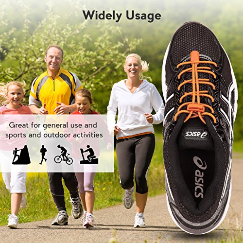 Climbing Orange Running Running Laces No Reflective 3 Kids Quick Lock for System Tie Hiking Lacing Pairs Shoe with for Adults Elastic Shoelaces and Shoes Rgqp1qnO