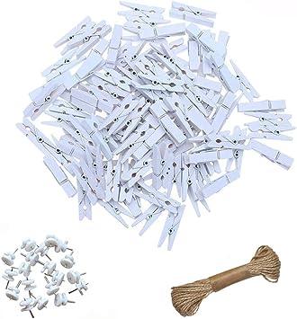 Amazon.com: surethingz 100 piezas Mini, color blanco Clip de ...