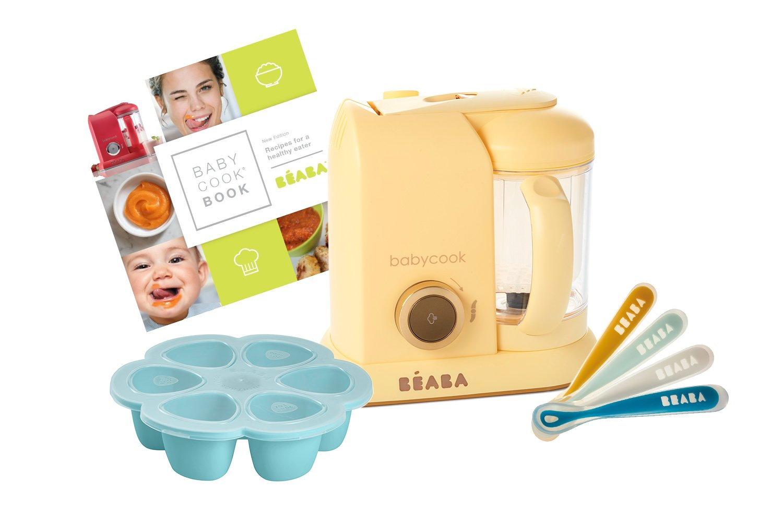 BEABA 1st Stage Feeding Gift Set, includes Babycook, silicone spoons, silicone food storage tray, cookbook, Lemon