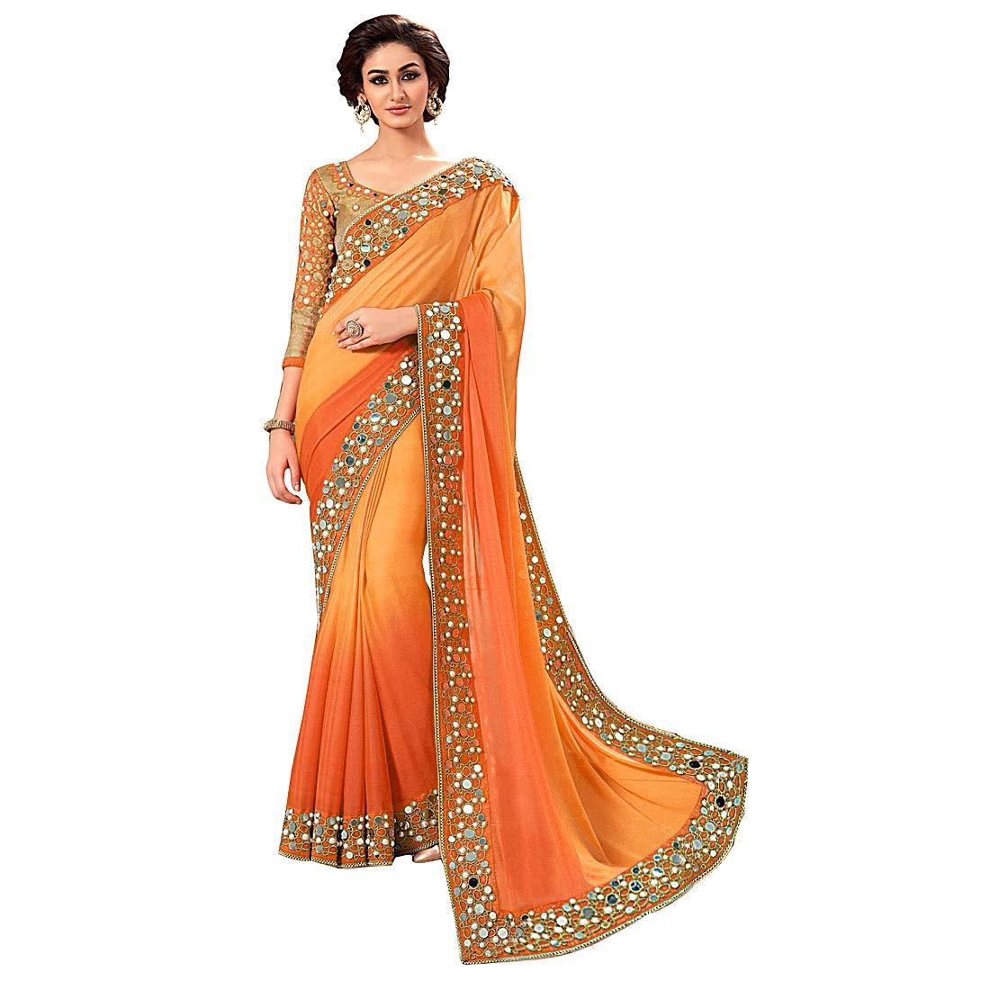 165696050f7e95 jashvi creation Women s Georgette Solid Saree with Blouse Piece ...