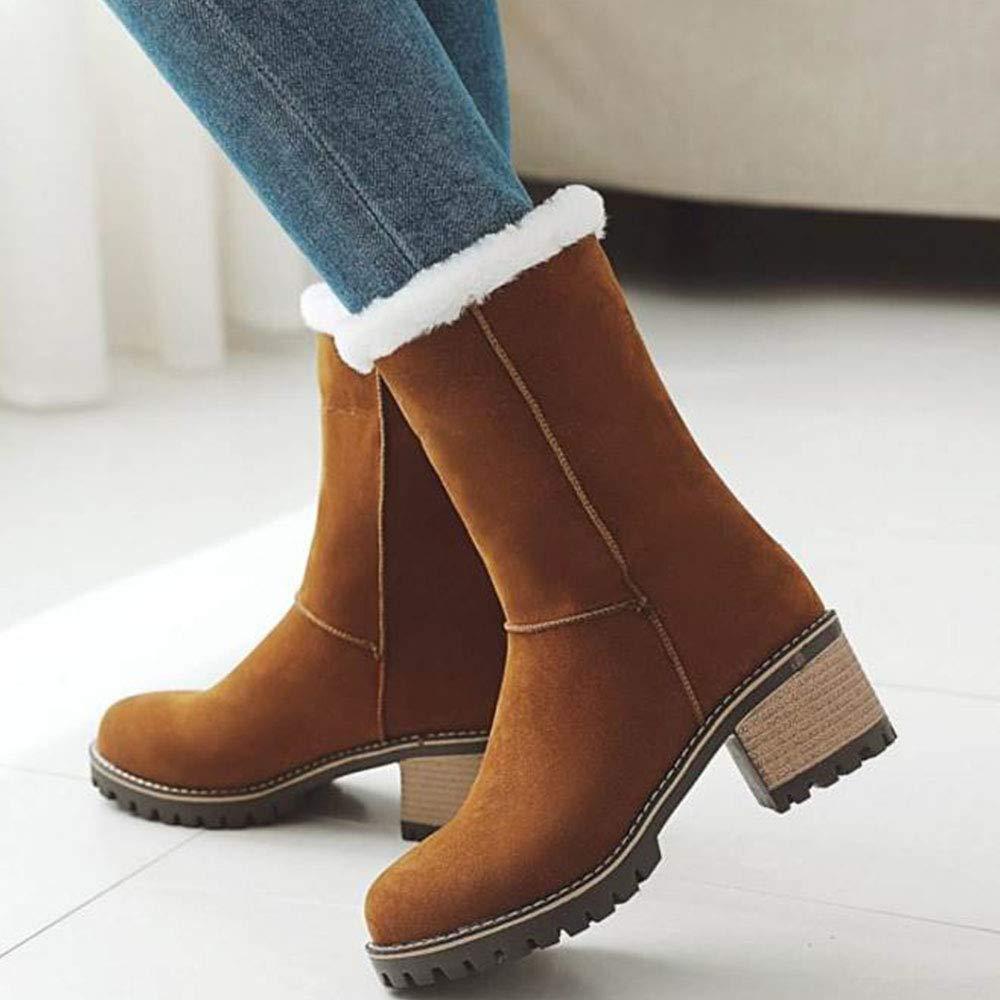 AicciAizzi Women Mid Heels Mid Calf Boots Pull On