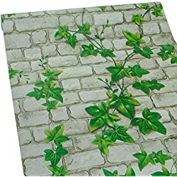 ZeroStage 11 Yards Green Leaf Brick Wallpaper Peel and Stick for Bedroom Offic Dorm Living Room Wall Stickers