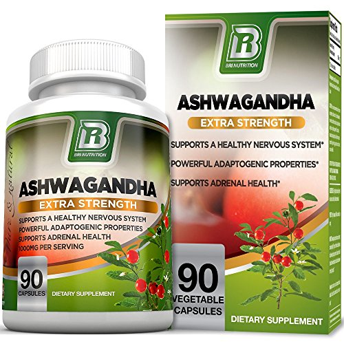 Ashwagandha – 1000mg/Serving, Premium Stress & Anxiety Relief w Energy Boost & Calm, Vegetarian Vegetable Capsules (90 Count)