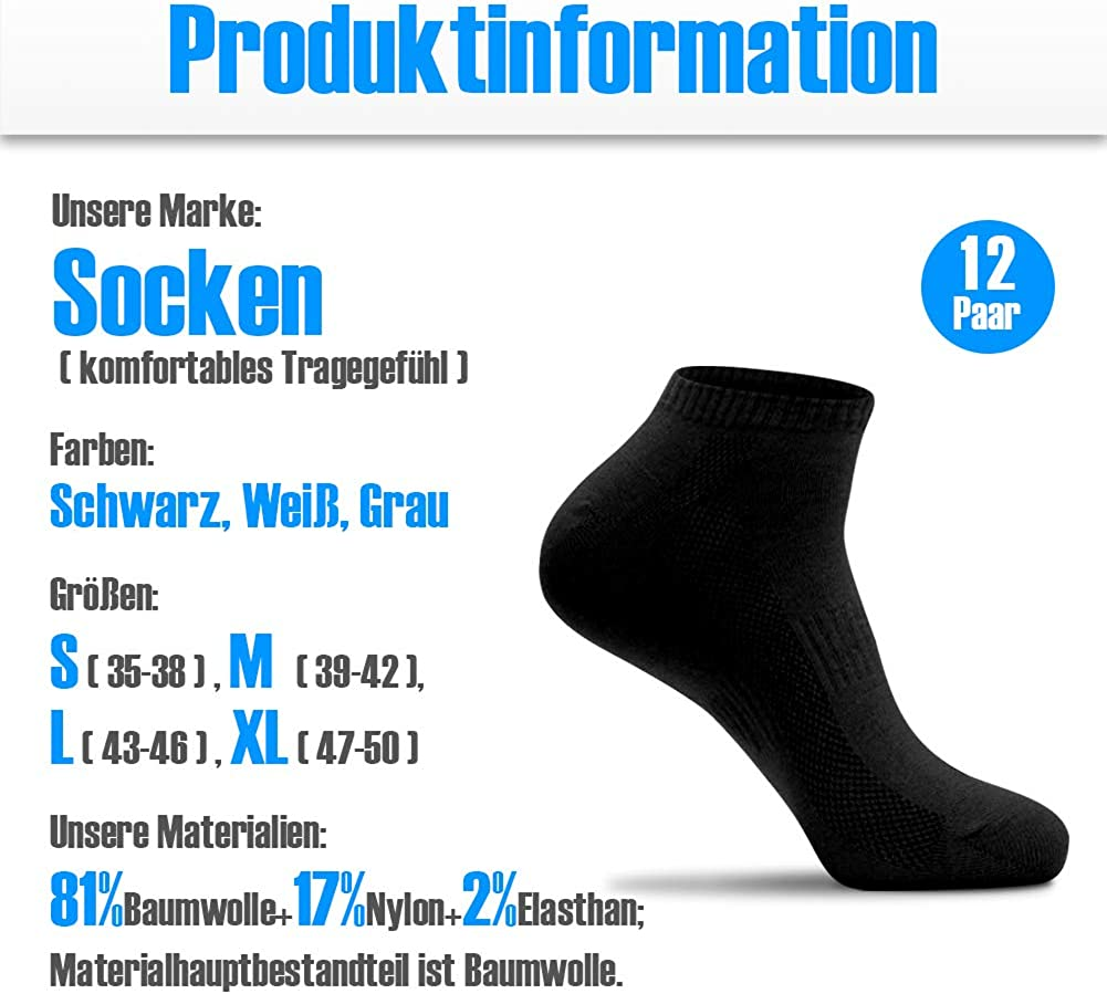 QINCAO Ankle Socks for Men Women Sport Performance Low Cut Socks Unisex 12 Pack