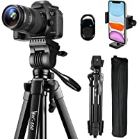 Tripod, 60-Inch Camera Tripod Stand Aluminum for Photography Canon Nikon Sony with Fluid Head & Carry Bag, Lusweimi…