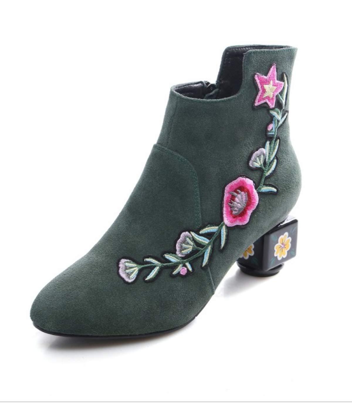 HBDLH Damenschuhe Schuhe In Samt Damenschuhe Schleifen Nationalen Stil Bestickt Hochzeit Schuhe