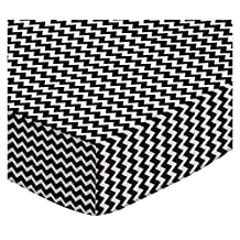 SheetWorld Fitted Stroller Bassinet Sheet - Black Chevron Zigzag - Made In USA - 13 inches x 29 inches (33.02 cm x 73.66 cm)