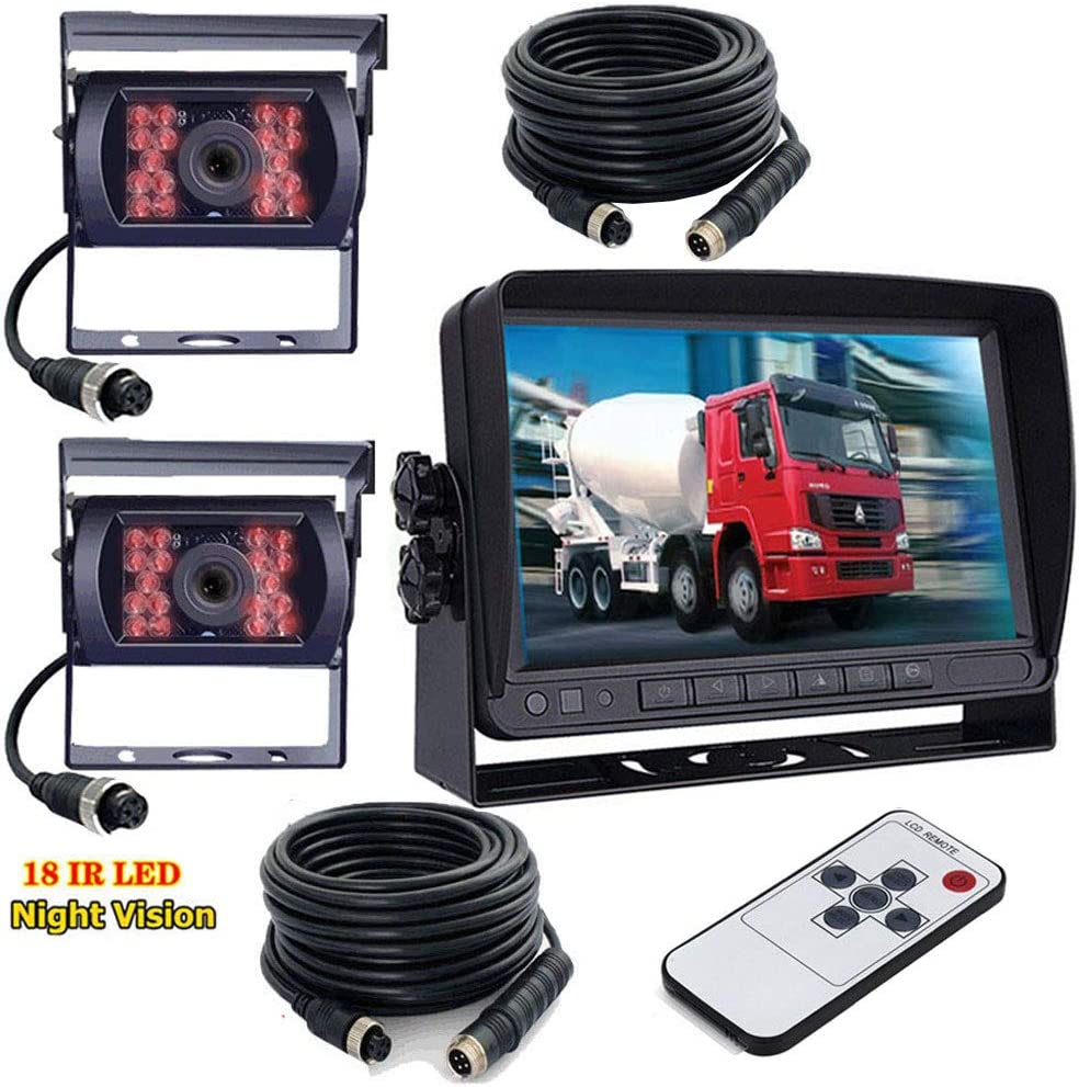 12V-24V Sistema cámara de marcha atrás vehículo, 7 Pulgadas TFT LCD HD Color Coche Monitor + 2x vehículos IR Visión Nocturna Impermeable Cámara de Visión Trasera Reversa para RV Bus Remolque,Camión