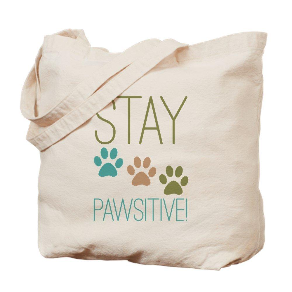 CafePress – Stay Pawsitive – ナチュラルキャンバストートバッグ、布ショッピングバッグ B00YPV6OBY