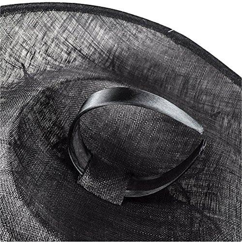 Chelsea Jones–Grand Noir en sinamay/Bal détudiants/chapeau Bibi sur serre-tête