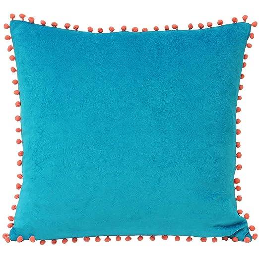 Riva Paoletti pompón Fundas de cojín de Terciopelo, Color Azul/Coral, 45 x 45 cm