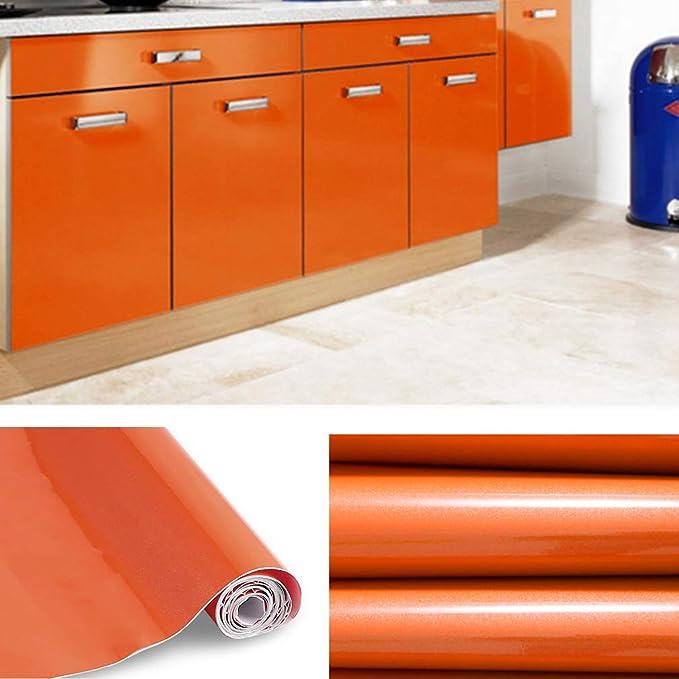 KINLO 0.61*20M PVC Pegatina de Mueble Papel Pintado Naranja Autoadhesivo Pegatinas impermeables para forrar un mueble del cocina y baño 0.61*5M/Rollo(Ancho*Largo): Amazon.es: Hogar