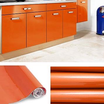 KINLO Papier Peint Auto Adhésif 5 X 0.61M Orange Pour Armoire De Cuisine En