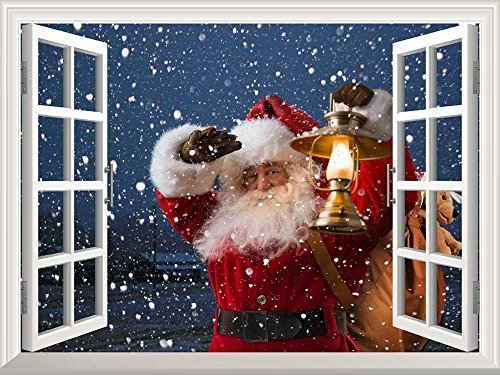 Removable Wall Sticker Wall Mural Santa Claus Carrying Gifts outside of Window on Christmas Eve Creative Window View Wall Decor