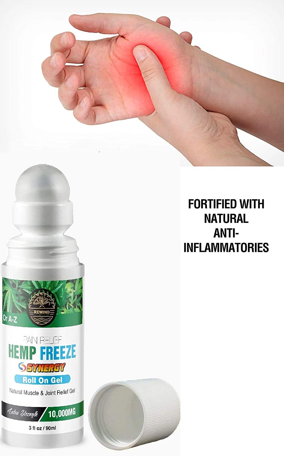 Natural Hemp Extract Roll On Cooling Freeze Effect, Turmeric, Ginger, Arnica, Emu Oil for A Fast & Lasting Pain Relief for Arthritis, Sore Joint, Backaches Sprains, Joint & Back Pain Stop Pain