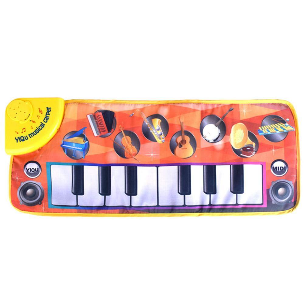 AOLVO Musikalische Klaviermatte, 8 Tasten, faltbar, Klaviertastatur, Tanz, Singen, Spielmatte, tragbar, elektronische Lerndecke, Spielzeug, Geburtstag für Kinder, Kleinkinder, Jungen und Mädchen