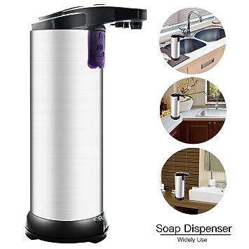 Dispensador de jabón automático,Wanxida Dispensador de jabón Touchless de acero inoxidable Sensor de movimiento infrarrojo IR Detergente de mano libre para ...