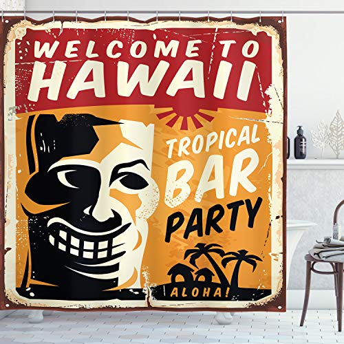 Ambesonne Tiki Bar Shower Curtain, Welcome to Hawaii Tropical Bar Party Retro Style Grunge Signboard Picture Art, Cloth…