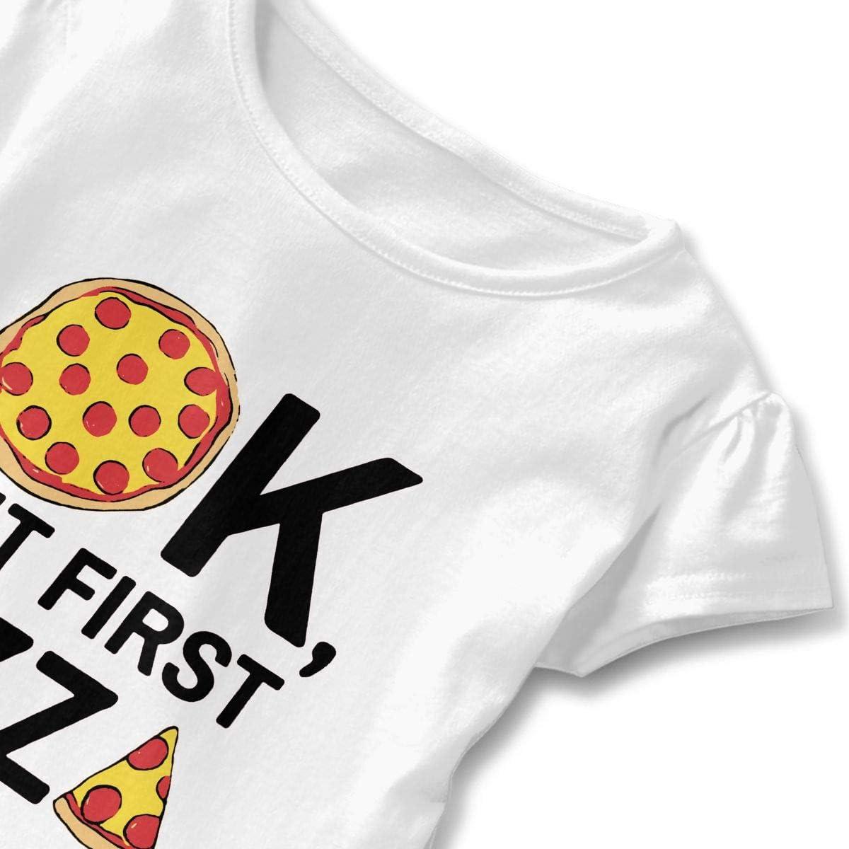 OK But First Pizza Baby Girls Casual Ruffle Top T-Shirt Flounces Dress Toddler Girls Dress Top