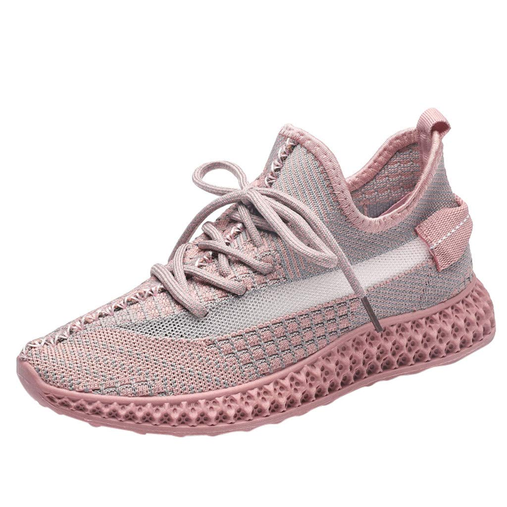 Dermanony Women's Outdoors Athletic Shoes Casual Woven Mesh Breathable Shoes Lace up Soft Bottom Sneakers Pink by Dermanony _Shoes