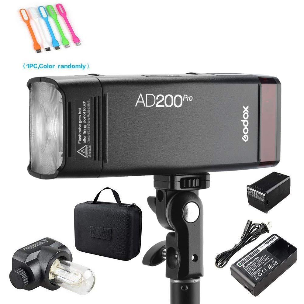 Godox AD200Pro 200ws 2.4G TTL Speedlite Flash Strobe 1/8000 HSS Monolight,500 Full Power Flashes, 2900mAh Battery,0.01-2.1s Recycling, Bare Bulb/Speedlite Fresnel Flash Head (AD200 Upgrade Version) by Godox (Image #1)