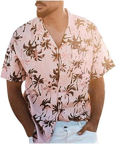 waotier Camisa de Hombre Summer Camisa Hawaiana Moda Casual ...