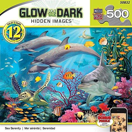 MasterPieces Glow-In-The-Dark Hidden Image Sea Serenity Jigsaw Puzzle, 500-Piece
