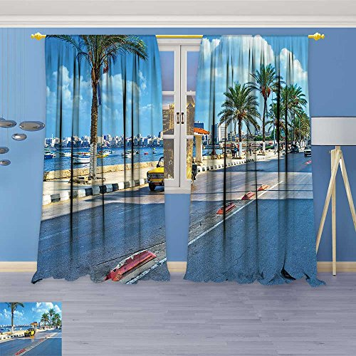 SOCOMIMI 465 Panels Room Darkening Blackout Curtains,Alexandria Egypt October The numerous Black Yellow Taxi Cars,Living Room Bedroom Window Drapes, 72W x 96L inch