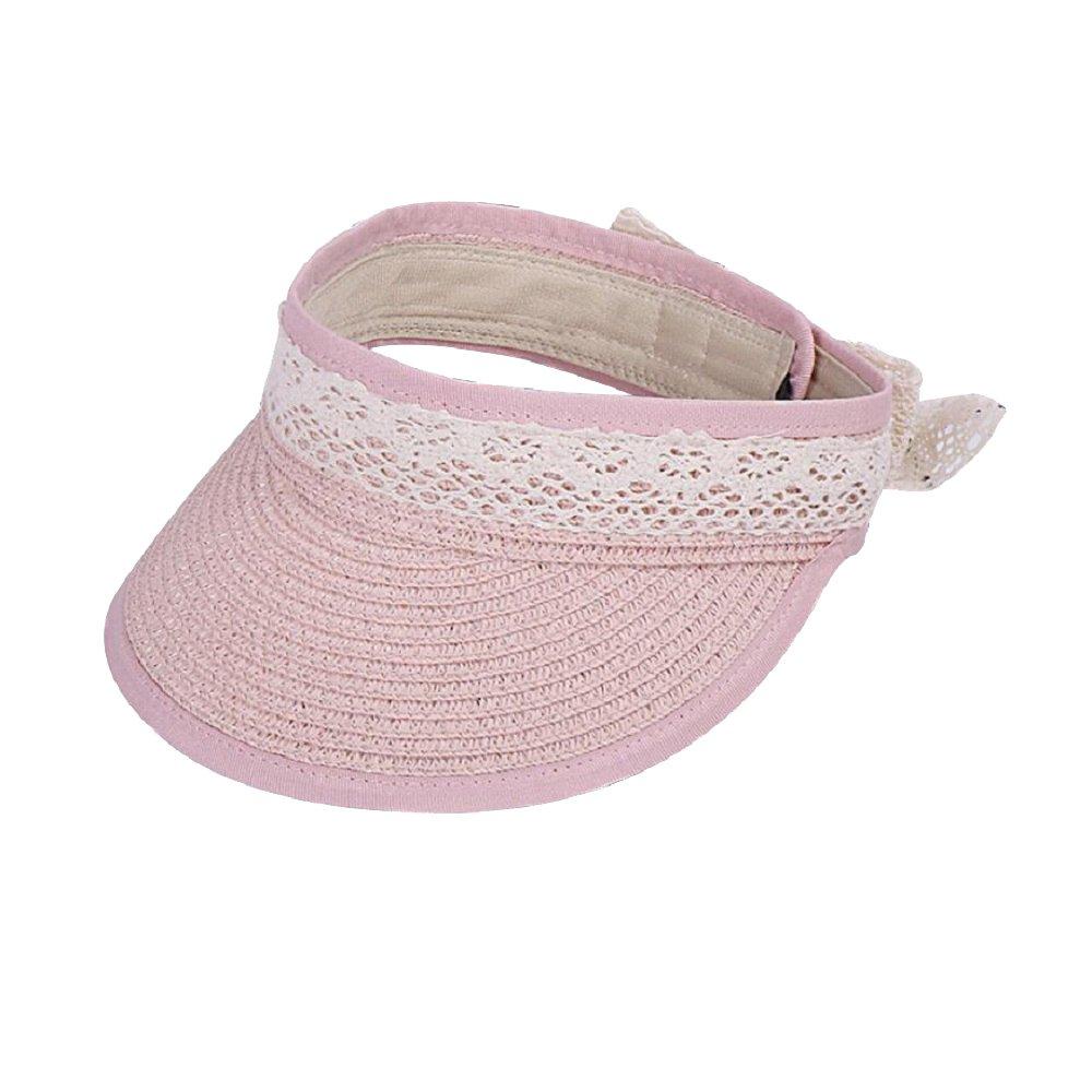 MIA GARMENT Sun Hat for Kids Foldable Straw Hat Lace Bowknot Hat Girls Sun Visor Beach Hat Pink