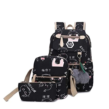 31fc4fc35271 Amazon.com: 3 Pcs/Set USB Charging Canvas Backpack Women School ...