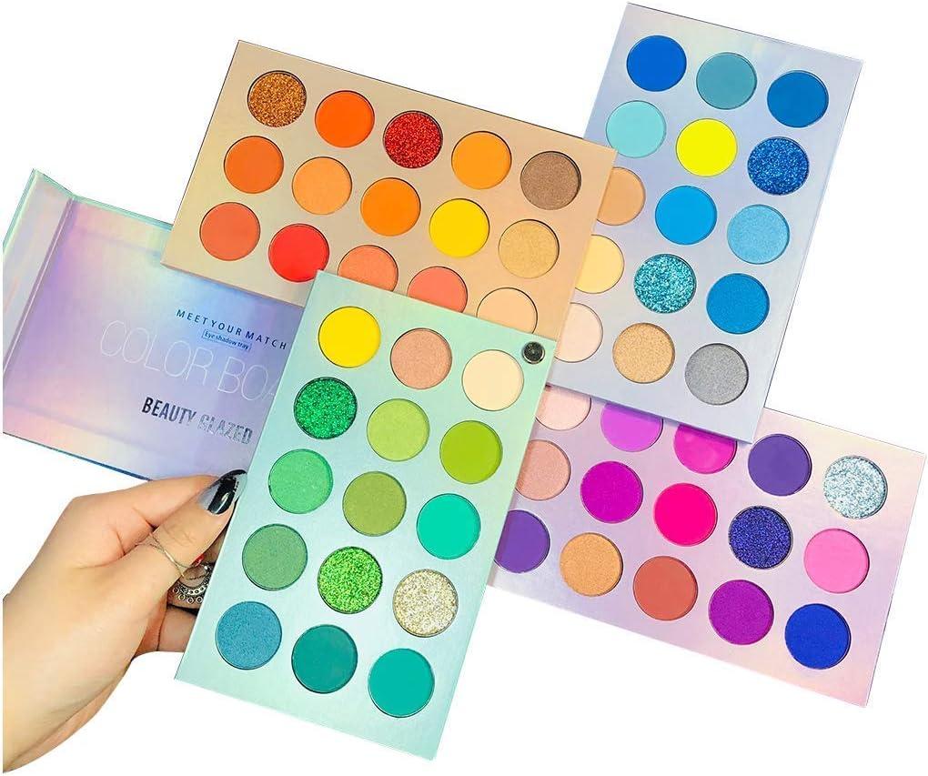Beauty Searcher 60 colores Paleta de sombras de ojos 4 en 1 Paleta de colores Paleta de maquillaje Alto pigmentado Color brillante Desnudo Brillo Mate Brillo Crema Paletas de sombras de ojos