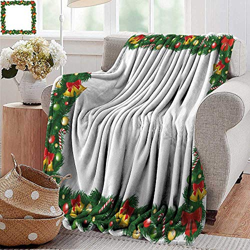PearlRolan Velvet Touch Ultra Plush,New Year,Xmas Themed Garland with Candy Canes Ribbons Colorful Baubles and Bells Winter,Multicolor,300GSM,Super Soft and Warm,Durable Throw Blanket 30
