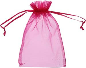 SumDirect 50Pcs 4x6 inches Sheer Organza Bags Jewelry Drawstring Pouches Wedding Party Christmas Favor Gift Bags (Fuchsia)