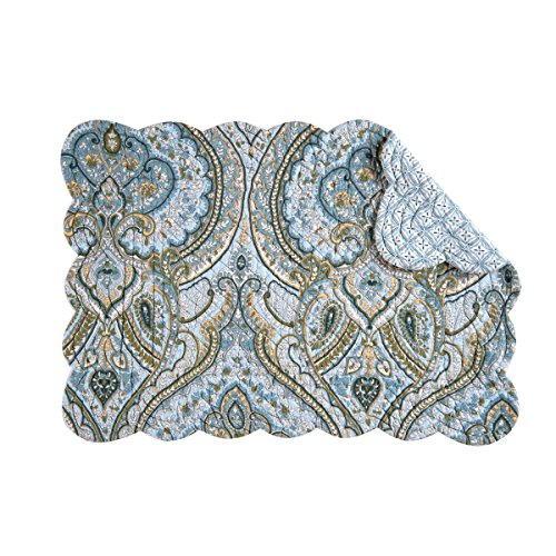 - Set of 4 AMHERST BLUE Quilted Reversible Placemat by C&F - Blues, Green, Tan, White