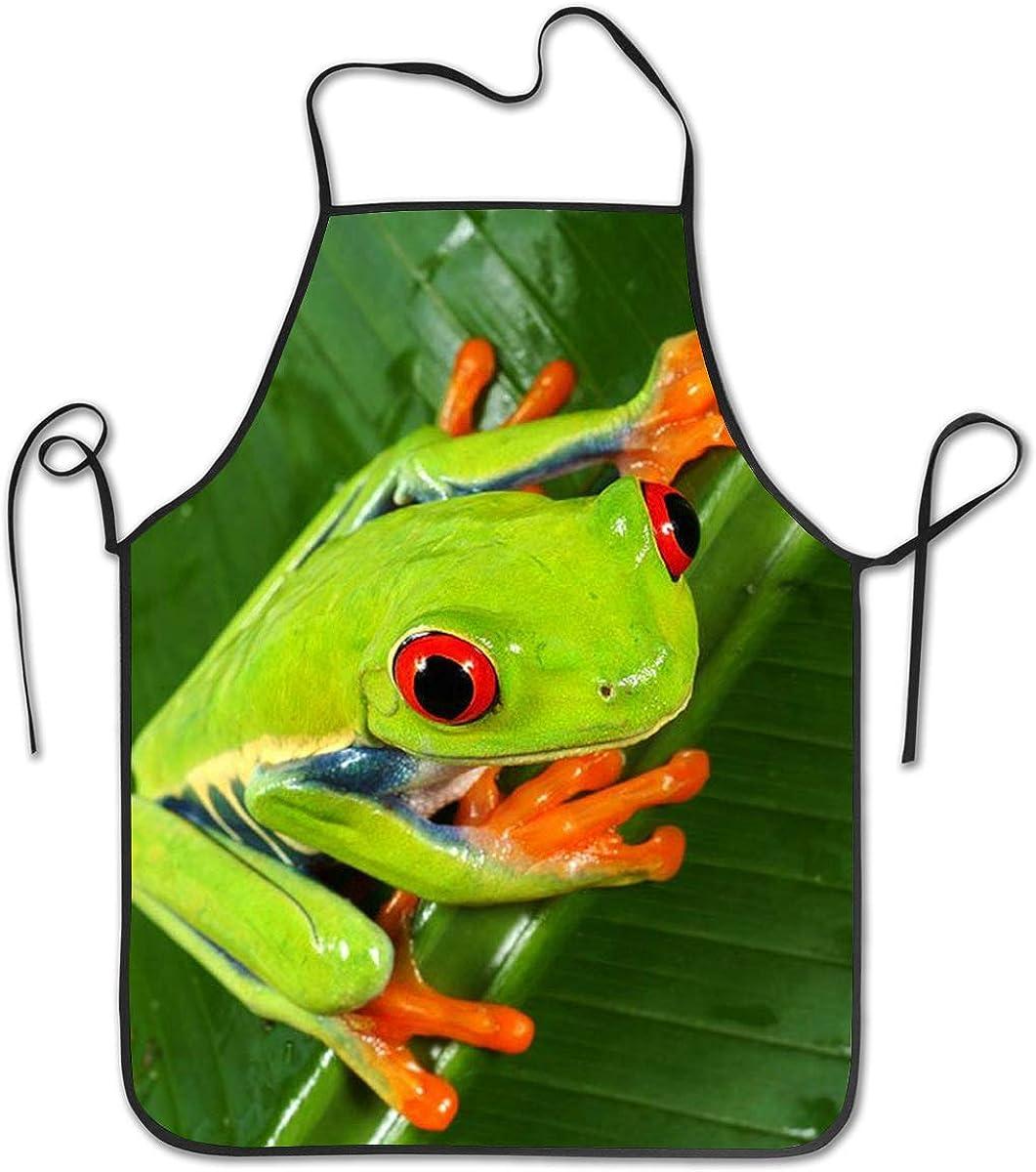 Amazon Com Yellow Eye Green Frog Kitchen Cooking Apron Funny Bib Chef Aprons For Women Men Clothing