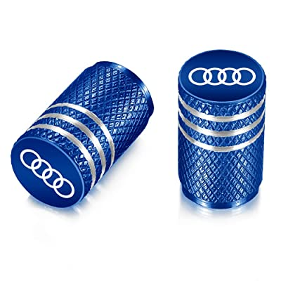 Flow.month Valve Stem Caps,Tire Caps Replacement for Audi Accessories Car,Motorbike,Trucks Aluminum 4pcs (Blue): Automotive