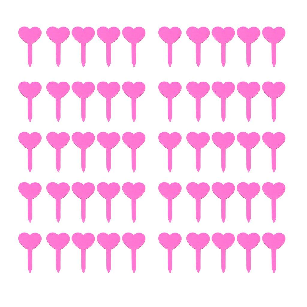 Gazechimp Wiederverwendbare Herz Pflanzenschilder 50er-Pckg Rosa