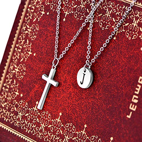 YL Cross Necklace Sterling Silver J Letter Initial Coin Pendant K Multilayer Chain Layered Jewelry