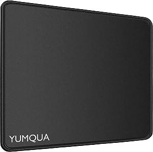 YUMQUA Mouse Pad [30% Larger] with Stitched Edge, Non-Slip Rubber Base,11×8.6×0.12 inches, Premium-Textured Mouse Mat Mousepad for Laptop Computer PC Desktop, Black