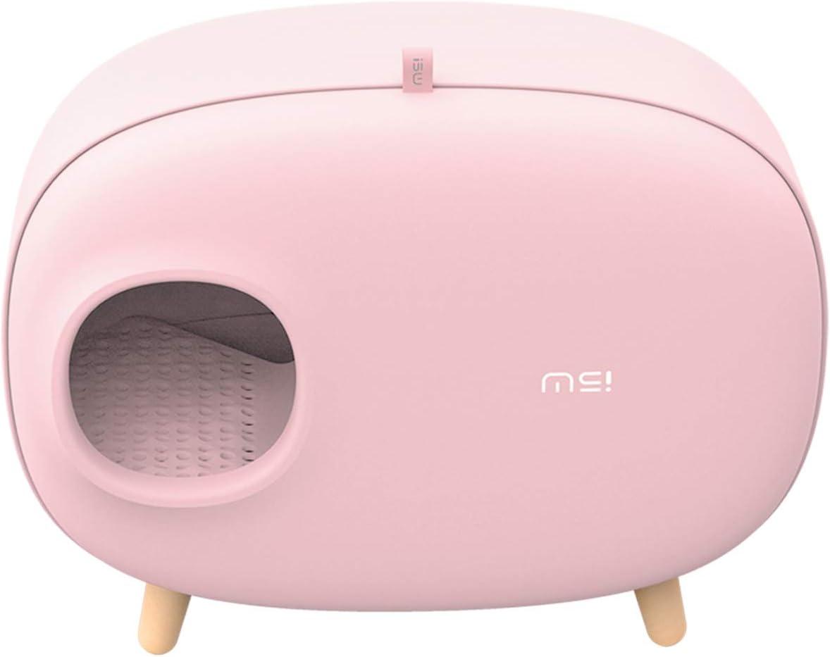 MAKESURE Arenero para Gatos, Cajas de Aseo, Fácil de Limpiar, Material ecológico con Mayor Seguridad (Rosa)