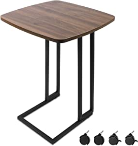 Modern End Table, Moncot Mobile C Shaped Side Table with Detachable Wheels, Wood Top Walnut Coffee Table, Nightstand, TV Trays for Living Room, Bed Room with Sturdy Metal Frame, ET220A-WN