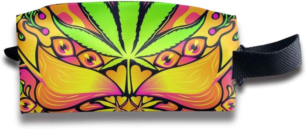 Bolso de Mano para Mujer, artículos de tocador, Estuche de Tren cosmético multipropósito, Estuche de Transporte, Bolsa de lápiz con Cremallera de Gran Capacidad, Hoja de Hierba de Cannabis