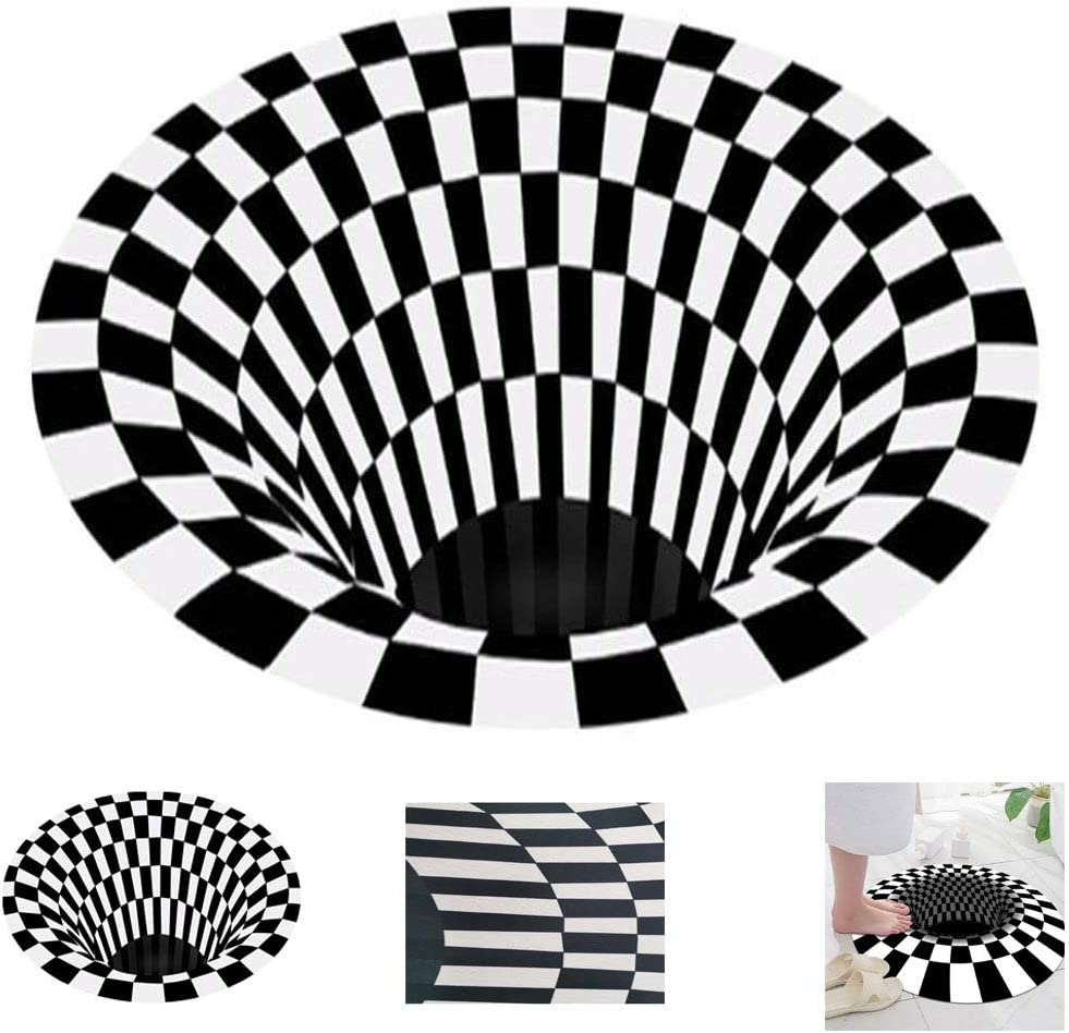 Round Carpet Checkered Vortex Non Slip Area Rug 3D Bottomless Hole Optical Illusion Area Rug Anti-Skid Non-Woven Black White Doormat for Room (160160cm)